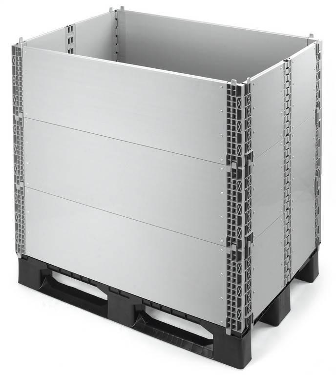 Kunststof opzetranden voor paletten, 1200x1000x330, plooibaar