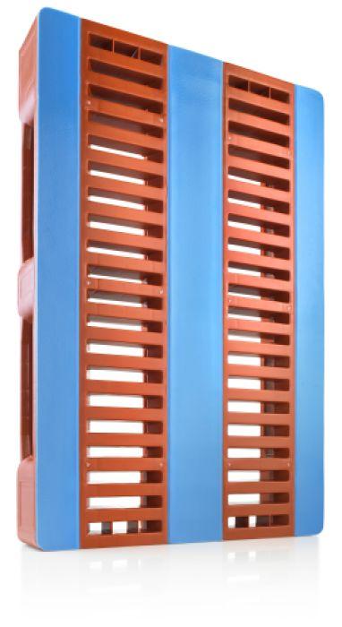 Kunststoff Hygiëne Palette 1200x800x160 mm mit 3 Kufen , CR1, Rot-braun / blau,  lebensmittel geeignet, Offenes Deck, anti-Rutsch