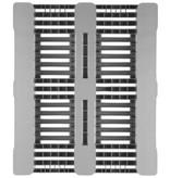 Kunststoff H3, Hygiene Palette 1200x1000x160 mm, mit 3 Kufen für Lebensmittelindustrie, Offenes Deck
