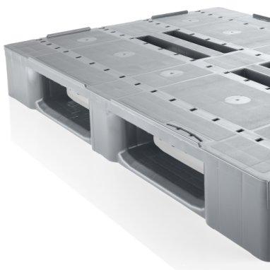 Kunststof Industrie-Pallet 1200x1000x150 mm , 3 gelaste onderlatten, Semi-Gesloten dek
