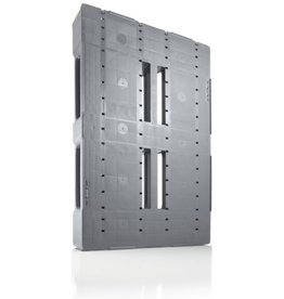 Industrie-Pallet 1200x800x150 mm , 3  gelaste onderlatten, Semi-Gesloten