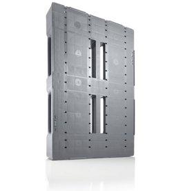 Industriepalette 1200x800x150 mm, 3 Geschweißte Kufen, halb Geschlossen