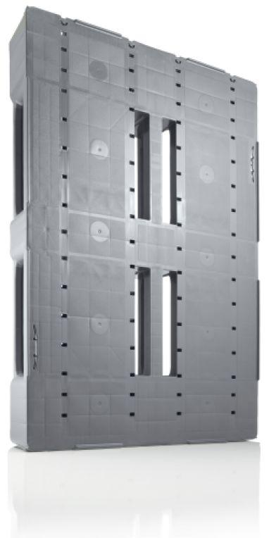 Palette industrie en plastique 1200x800x160 mm, 3 semelles soudées , planché Semi  fermé