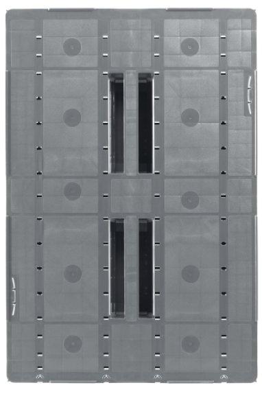Plastic Euro pallet 1200x800x150 mm, 3 welded Runners , semi closed
