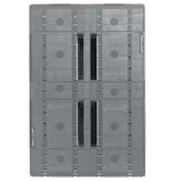 Kunststof Industrie-Pallet 1200x800x150 mm , 3 onderlatten, Semi-Gesloten dek