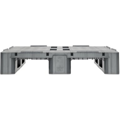 Palette industrie  plastique 1200x800x160 mm, 3 semelles , planché Semi  fermé