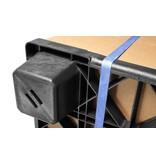 Nestable plastic export pallet 1140x1140x140 with 9 feet, open deck