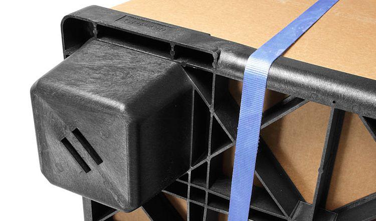 Nestbare kunststof pallet 1140x1140x140, open dek, 9 poten