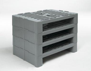 Demi Palette Hygiénique en plastique 800x600x160, Ouvert , 2 semelles