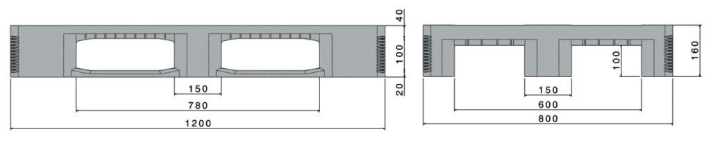 Kunststof zwaarlast Hygiënische pallet 1200x800x160mm,CR1, met 3 onderlatten, anti slip
