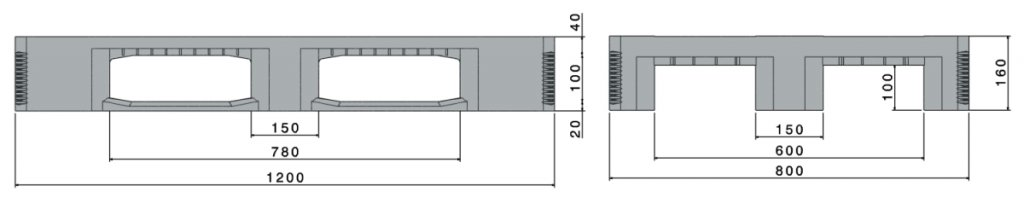 Kunststoff Schwerlastpaletten 1200x800x160 mm , CR1, 3 Kufen, Anti-Rutsch, verstärkt