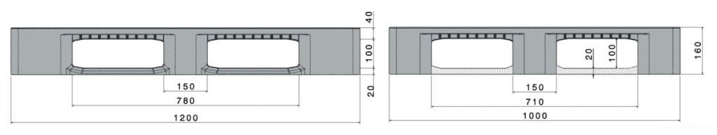 Industrial Plastic Pallet CR3-5, 1200x1000x160 mm, 5 runners