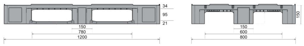 Kunststof Industrie-Pallet 1200x800x150 mm , 3 gelaste onderlatten, Semi-Gesloten dek