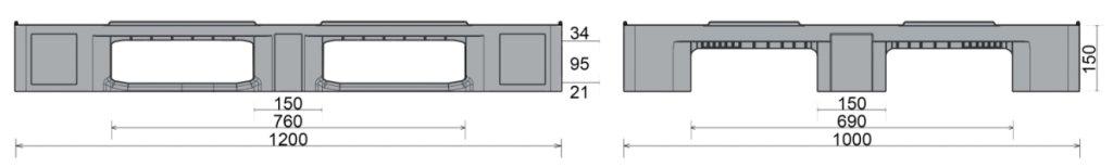Kunststoff Industriepalette 1200x1000x150 mm, 3 Geschweißte Kufen, halb Geschlossen