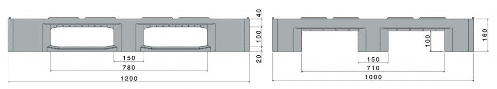H3, Palette hygiënique en plastique 1200x1000x160 mm, 3 semelles