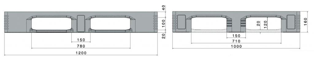 Palette industrie en plastique 1200x1000x160 mm, 5 semelles , planché fermé