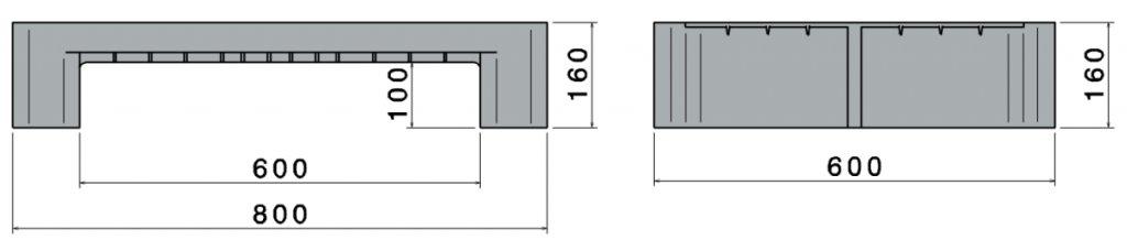 Kunststof H2 , Hygiëne half Pallet 800x600x160 mm, Open dek, 2 onderlatten