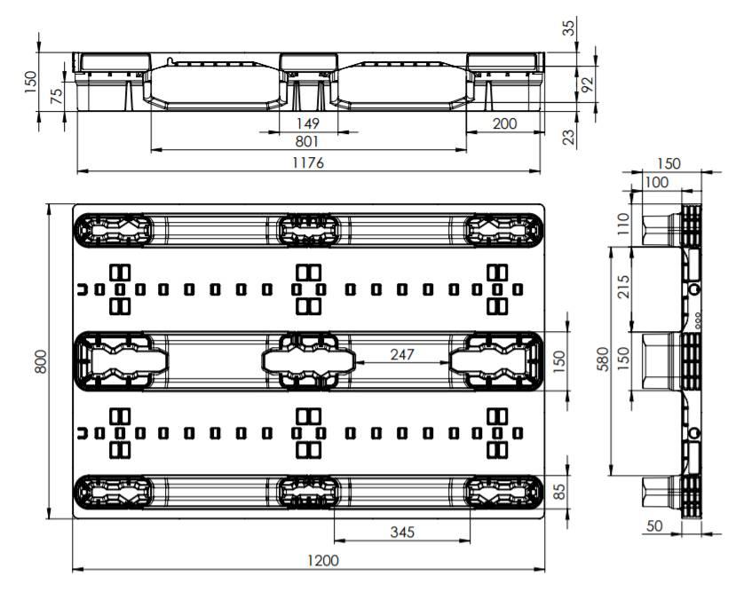 Kunststoff Palette,1200x800x150, nestbar, 3 Kufen, offenes Deck