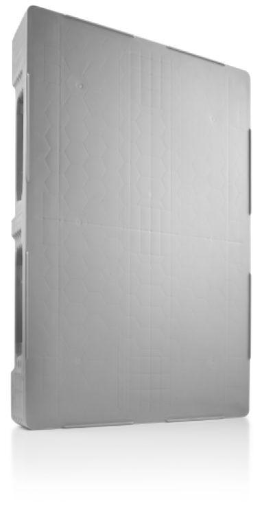 Kunststof Hygiëne Pallet 1200x800x160 mm , 3 onderlatten,  Gesloten dek