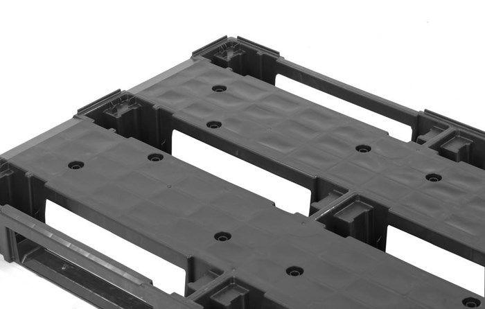 Kunststof Euro pallet, 1200x800x140, nestbaar, onderlatten, open , lichtgewicht, 200 kg in stellingen