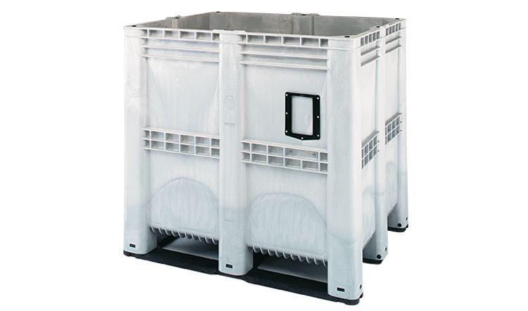 Höhe Kunststoff  Palettenbox, 1300x1150x1250 mm, 1400 Liter, 3 Kufen,  geschlossene Wände