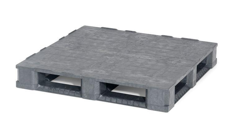 Kunststoff Containerpalette 1140x1140x165 mm, 6 Kufen , geschlossenes Deck