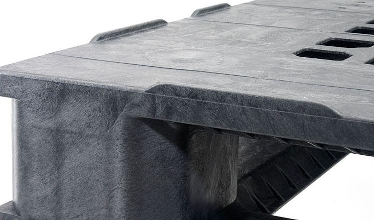 Kunststof Industrie/Container pallet 1140x1140x165 mm , 3 onderlatten , Gesloten dek
