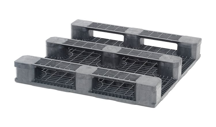 Kunststoff Containerpalette 1140x1140x165 mm, 3 Kufen , geschlossenes Deck