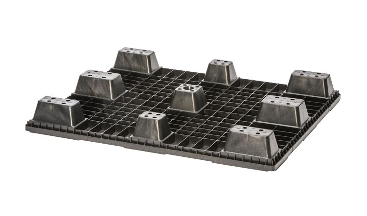 Nestable plastic pallet 1200x1000x134  , 9 feet, closed deck