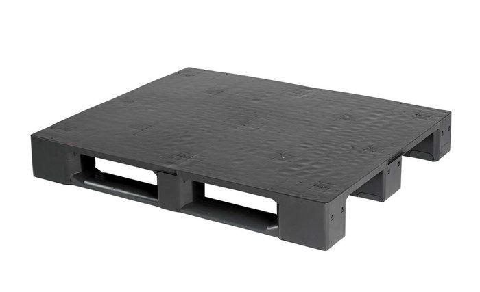 Kunststof Industrie pallet , 1200x1000x160, Medium last met 3 onderlatten , gesloten dek