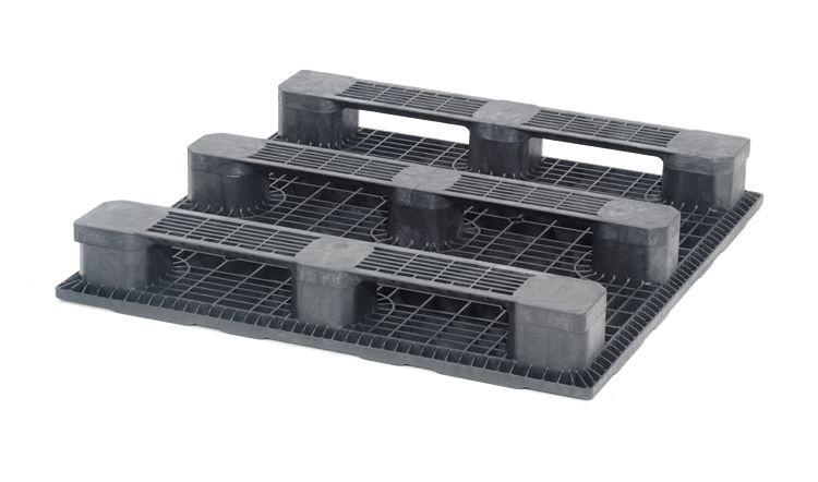 Palette industrielle plastique 1200x1200x165 mm, 3 traverses , Planché fermé
