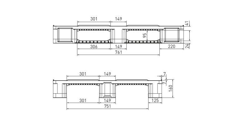 Kunststoff Industrie/Blok Palette 1200x1000x160 mm Grau/Blau 3 Kufen,  anti-rutsch noppen