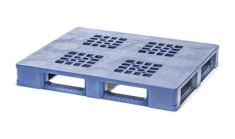 Kunststoff Industrie/Blok Palette 1200x1000x160 mm, 5 Kufen and antislip dods, Offenes Deck