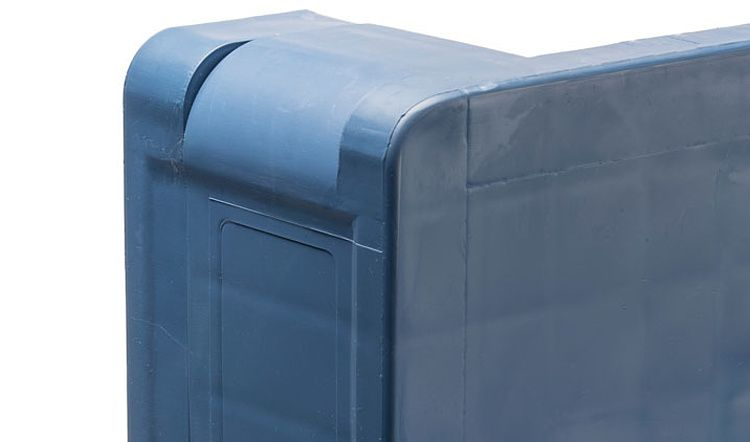 Kunststof Industrie-Block-Pallet PPP5 1200x1000x160 mm, 5 onderlatten en antislip dods, open dek