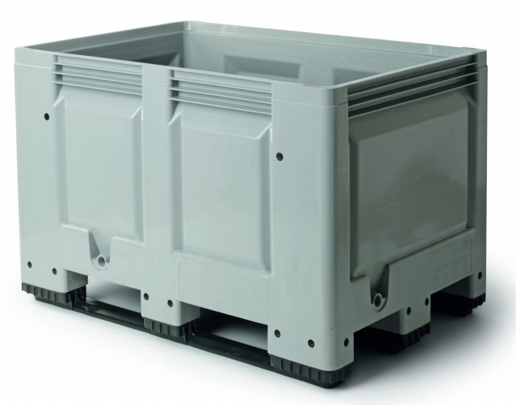 Caisse palette rigide 1200x800x790 mm, 480 Litres, parois fermées, 3 Semelles