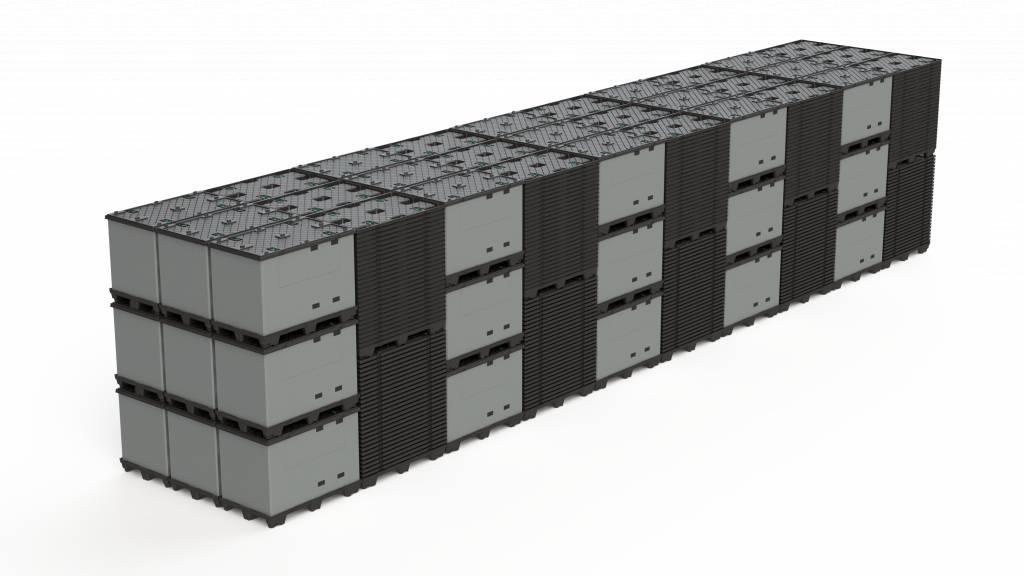ECOPACK CLASSIC Faltbehälter  1200x1000x990 mm, 9 Füssen, Grossvolume
