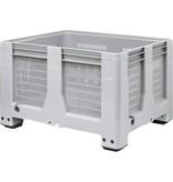 Caisse palette rigide Maxilog® 1200x1000x760 mm, 620 Litres, parois perforées , 4 pieds