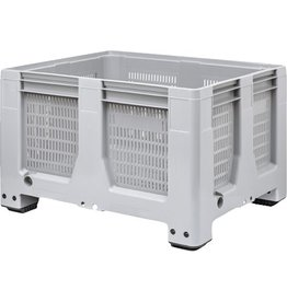Caisse palette rigide Maxilog® 1200x1000x760 mm, 620 Litres, parois perforées