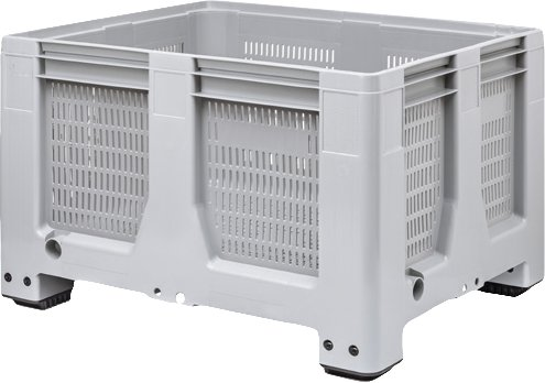Maxilog® Pallet boxes 1200x1000x760 ventilated walls and bottom, 4 feet