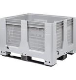 Maxilog® Palettenbox • 1200x1000x760 • Durchbrochene Wände und Boden • 3 Kufen