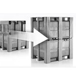 CB3  Pallet boxes • 1200x1000x740 • solid walls and bottom • 3 runners