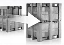 Caisse palette rigide CB3 • 1200x1000x740 mm • 620 Litres • parois pleines• 3 semelles