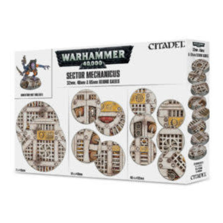 Games Workshop Warhammer 40,000 Bases: Sector Mechanicus - 32mm, 40mm & 65mm Round Bases (20&40)