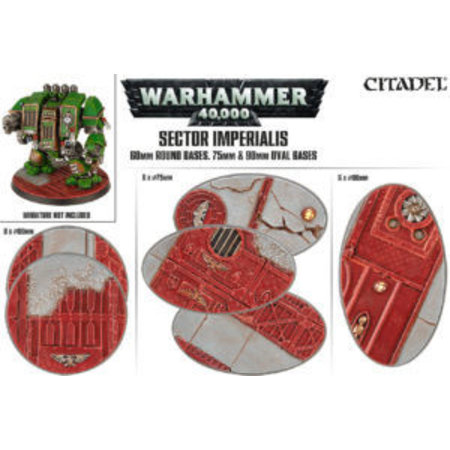 Games Workshop Sector Imperialis: 60mm Round Bases, 75mm & 90mm Oval Bases (3x6)