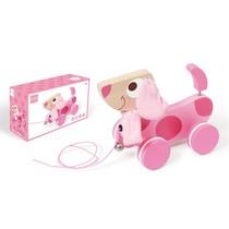 Trekfiguur Hond roze Lily (scratch)