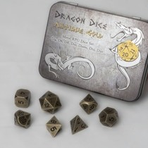 Dragon Dice Antique Gold Metal RPG Dice Set