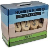 Molkky (number Kubb) in cardboard box