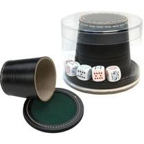 Pokerbeker met Dobbelstenen Zwart Leder met deksel 9 cm