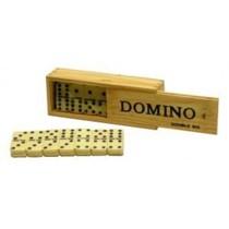 Domino dubbel 6 dik met pen/wit st. kist