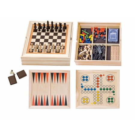 HOT games Houten spellen cassette 10-in-1 36x36 cm